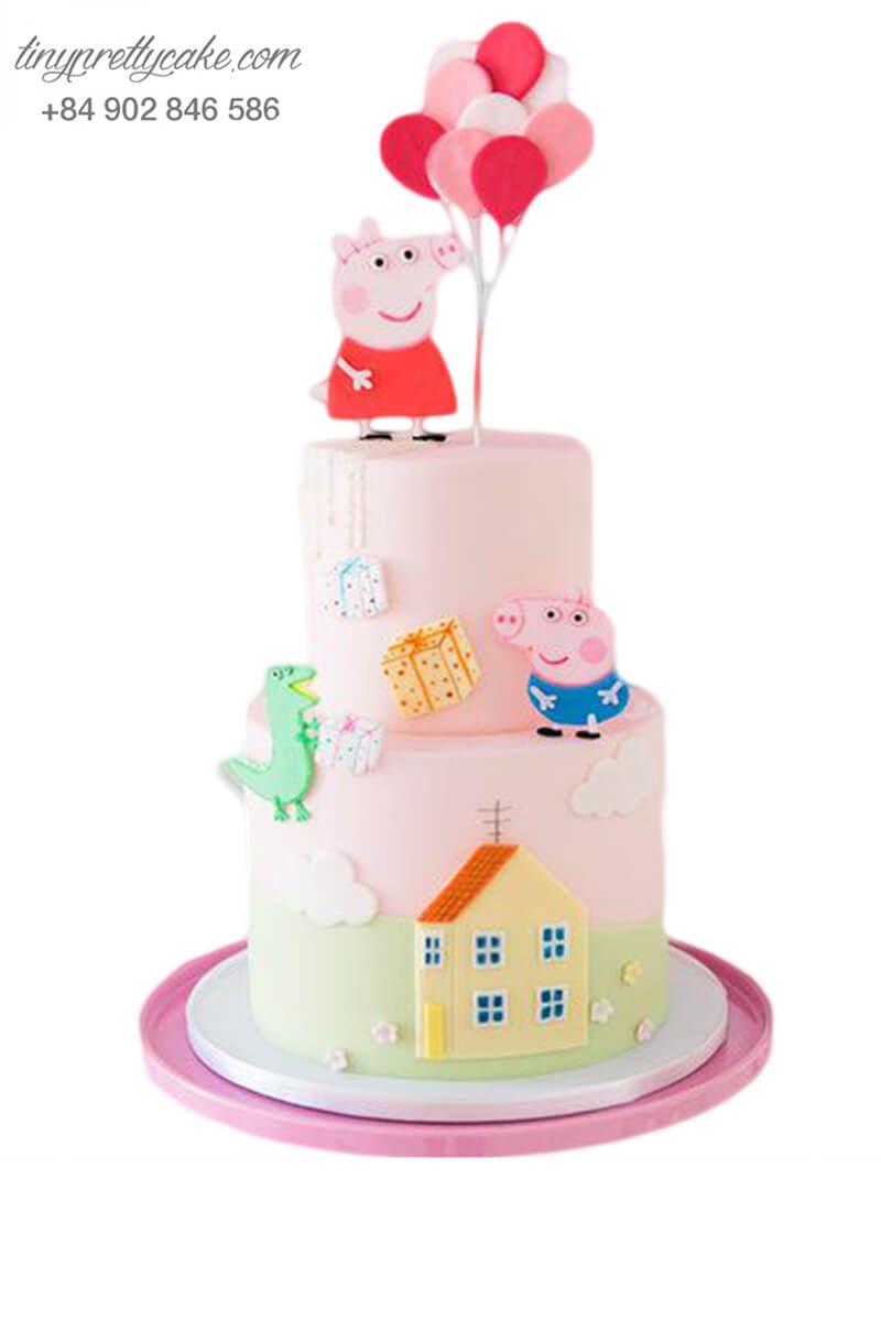 Bánh sinh nhật 2 tầng vẽ hoạt hình Peppa Pig