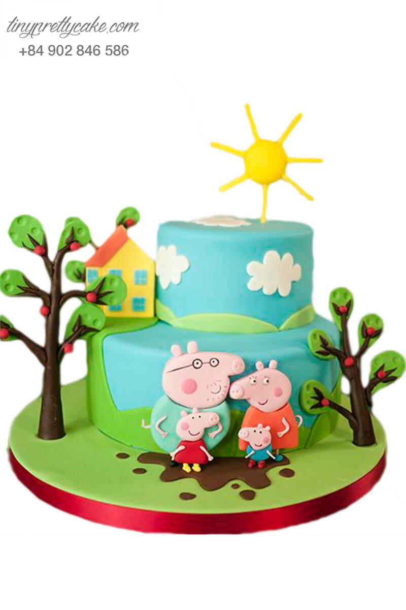 bánh sinh nhật dành cho các bé yêu gia đình heo Peppa