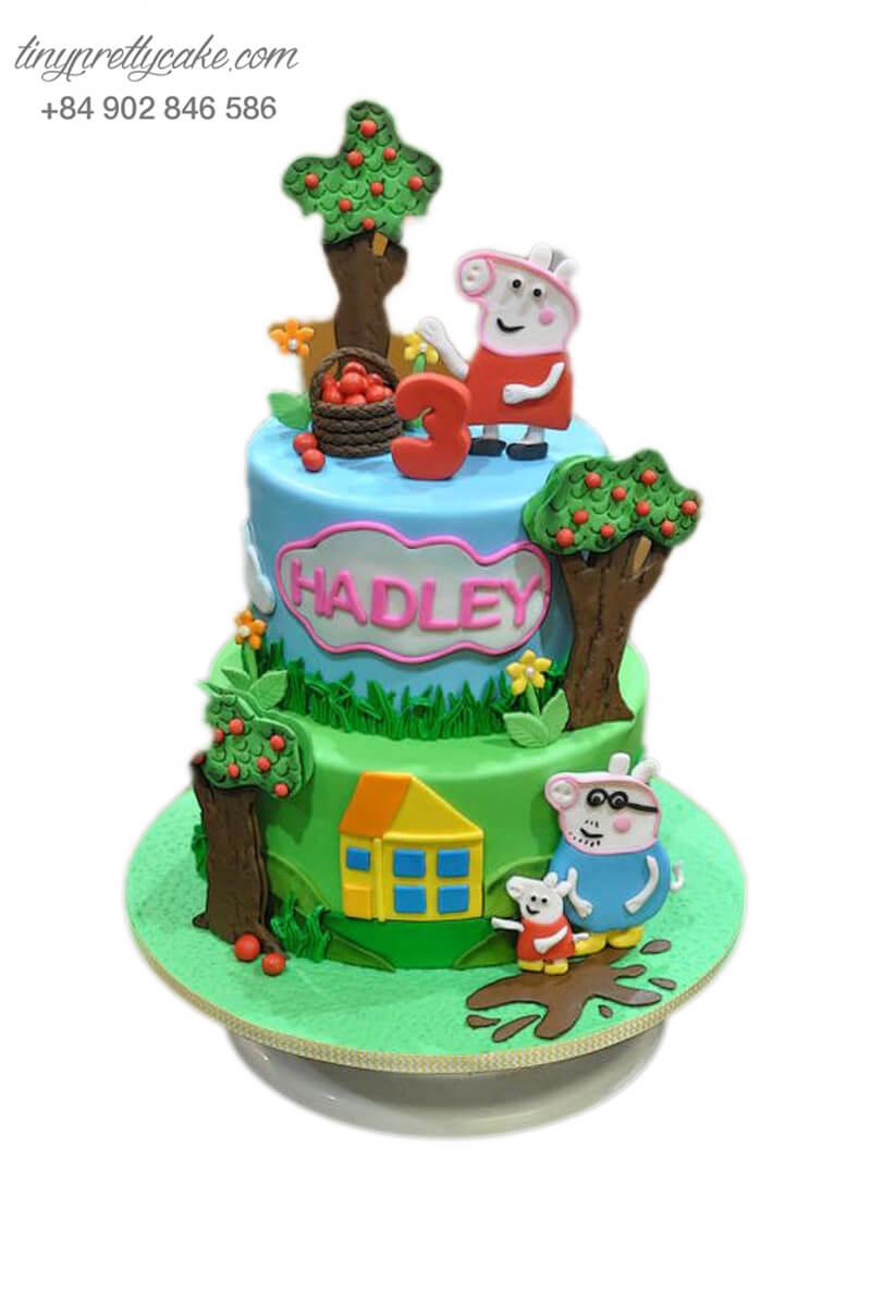 bánh sinh nhật Peppa Pig và khu vườn