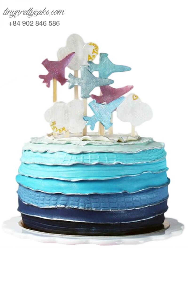 bánh kem máy bay màu xanh