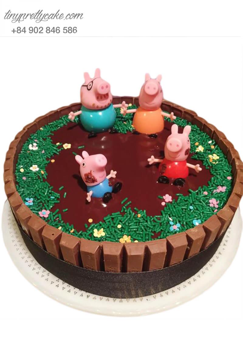 bánh sinh nhật Peppa Pig và hồ bơi socola