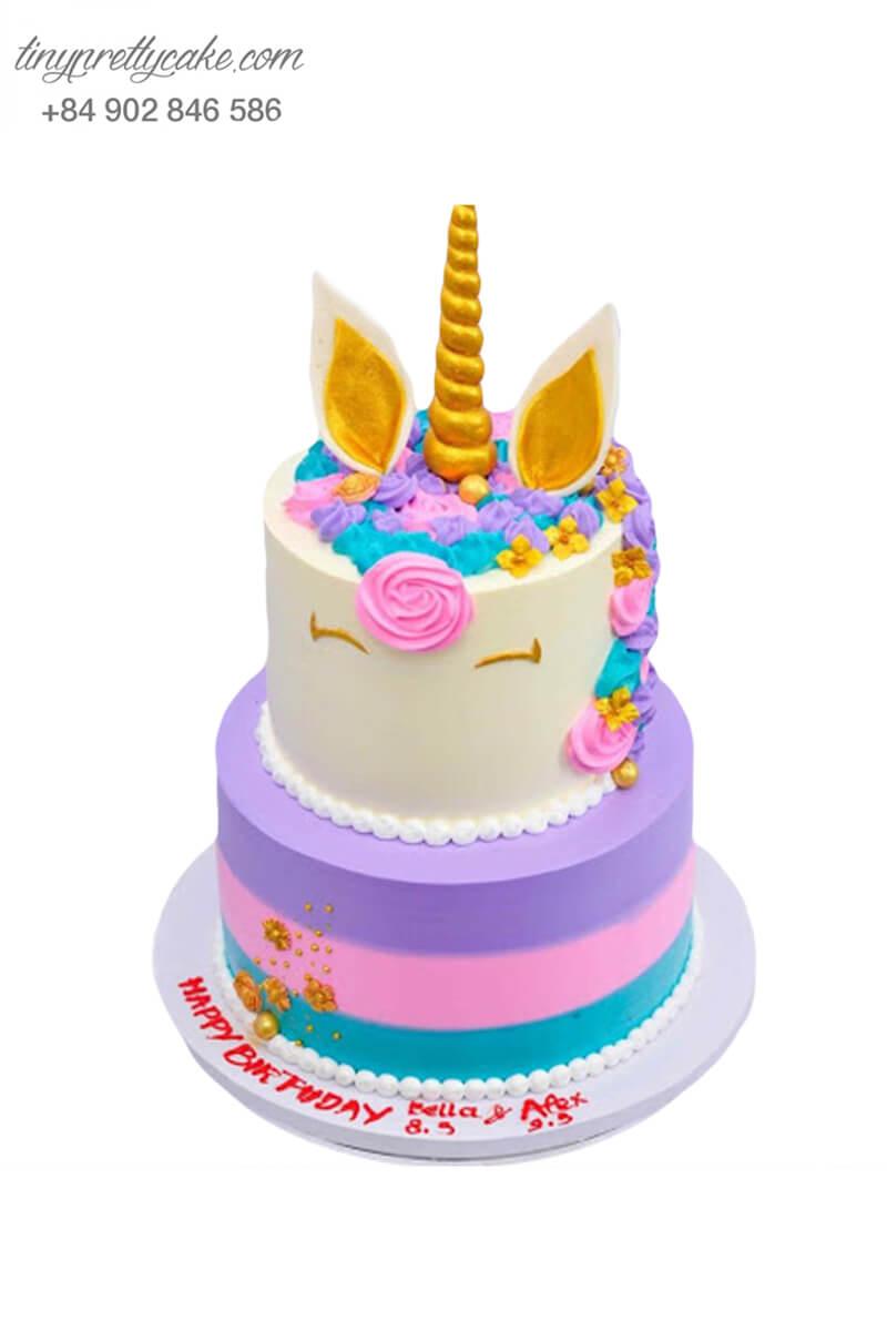 bánh kem 2 tầng Unicorn sắc màu