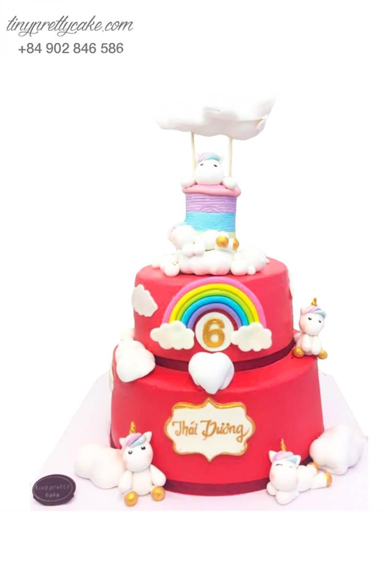 bánh sinh nhật 2 tầng Unicorn màu hồng