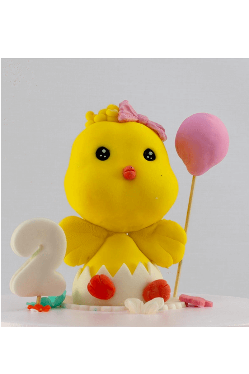 Bánh sinh nhật tạo hình gà con và bong bóng 1