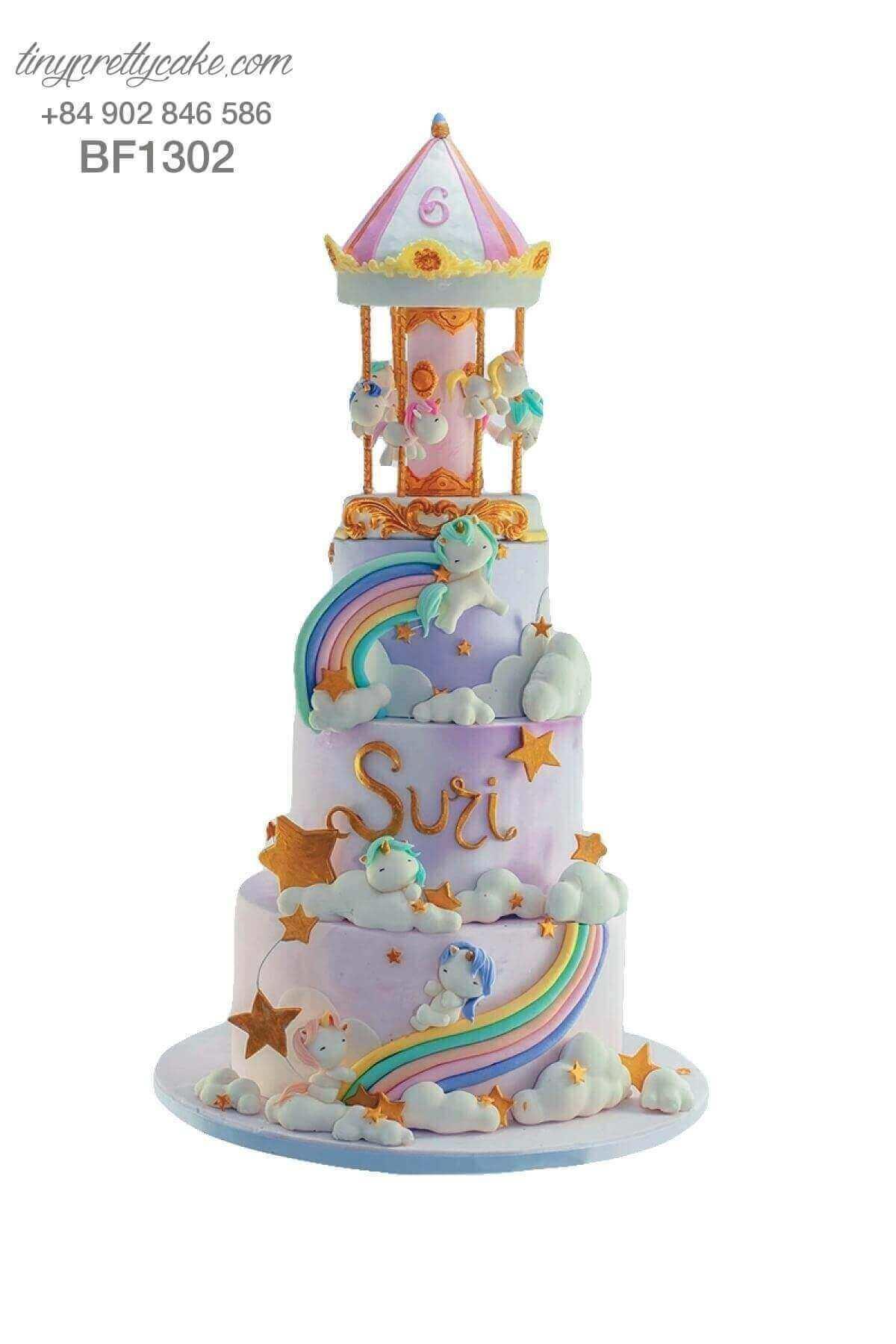 Bánh sinh nhật 3 tầng ngựa Unicorn