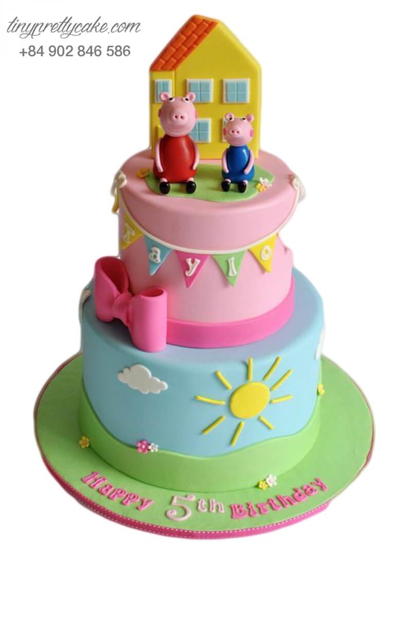 bánh sinh nhật 2 tầng heo Peppa và ngôi nhà