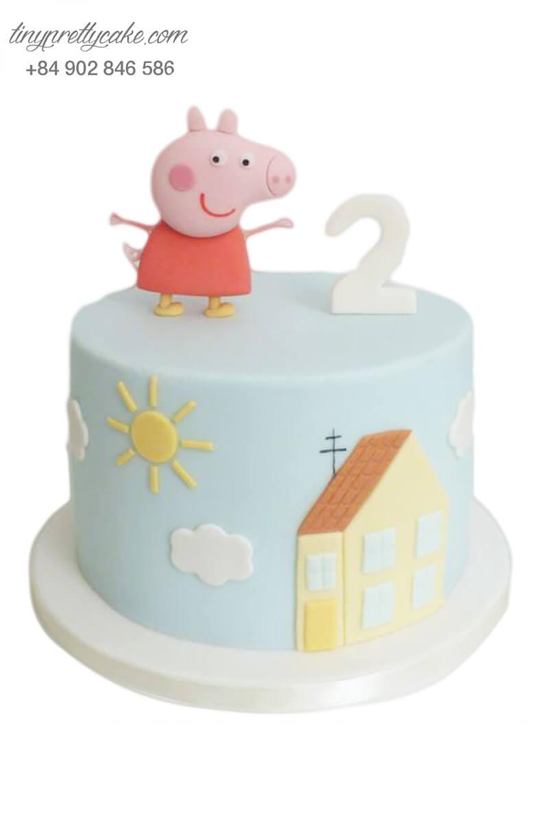 bánh sinh nhật Peppa Pig và ngôi nhà pastel