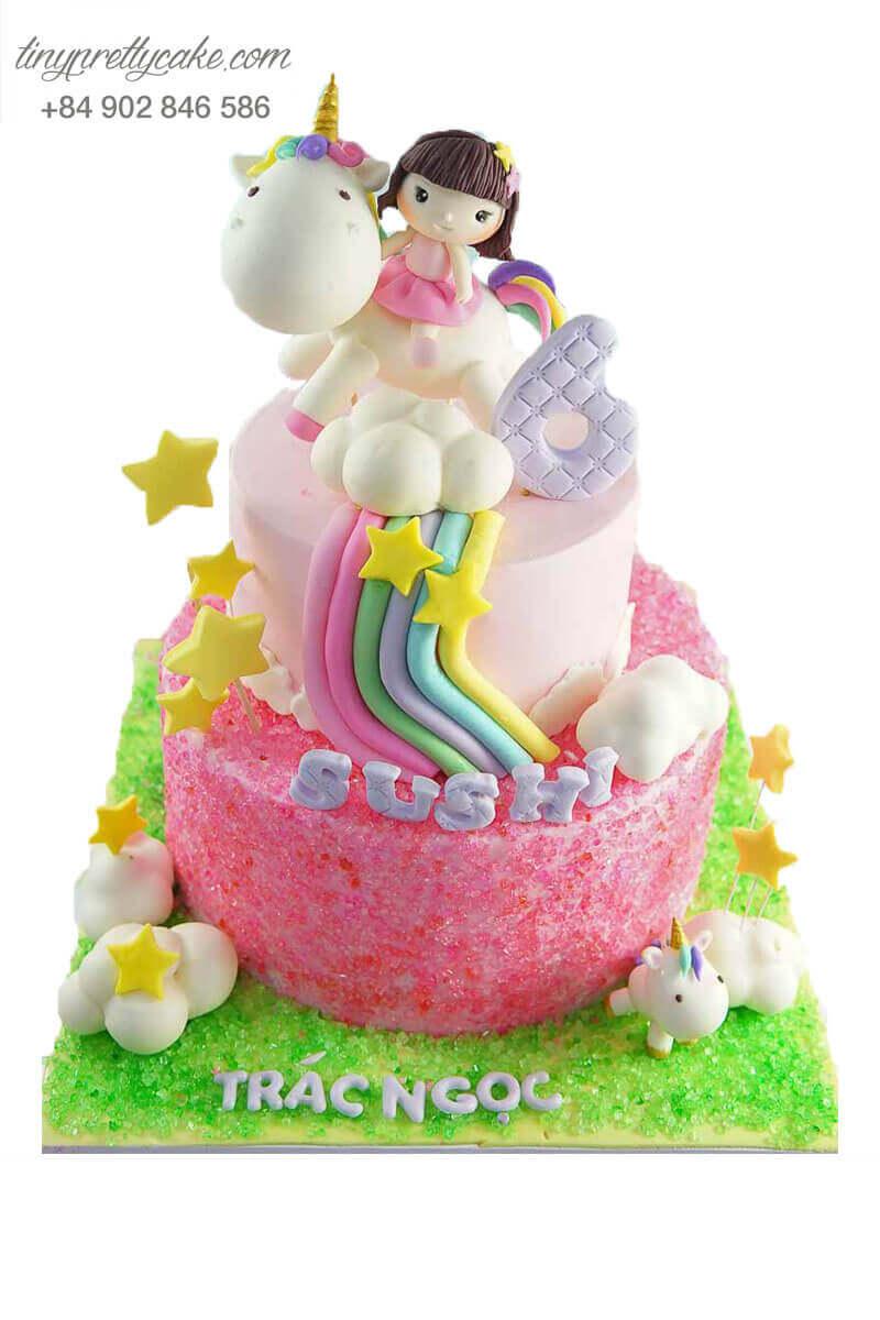 bánh sinh nhật cầu vồng 2 tầng