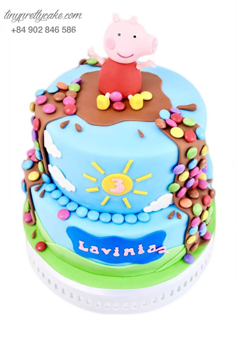 bánh sinh nhật 2 tầng heo Peppa dễ thương