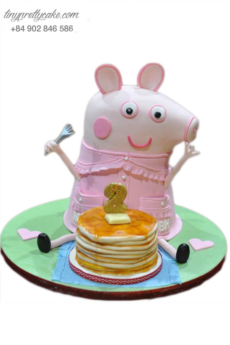 bánh sinh nhật hình heo Peppa ăn bánh