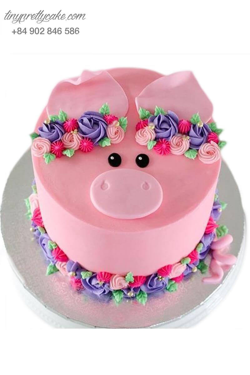 bánh gato tạo hình chú heo xinh và hoa