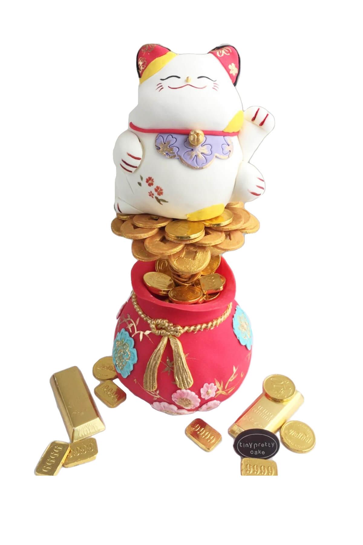Bánh gato mèo thần tài và túi tiền tài lộc, mừng công ty khai trương phát đạt
