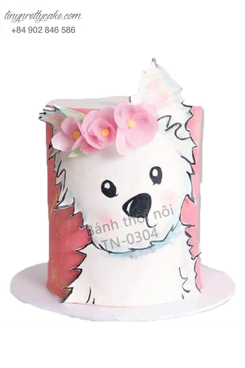 Bánh kem vẽ hình cún nghệ thuật