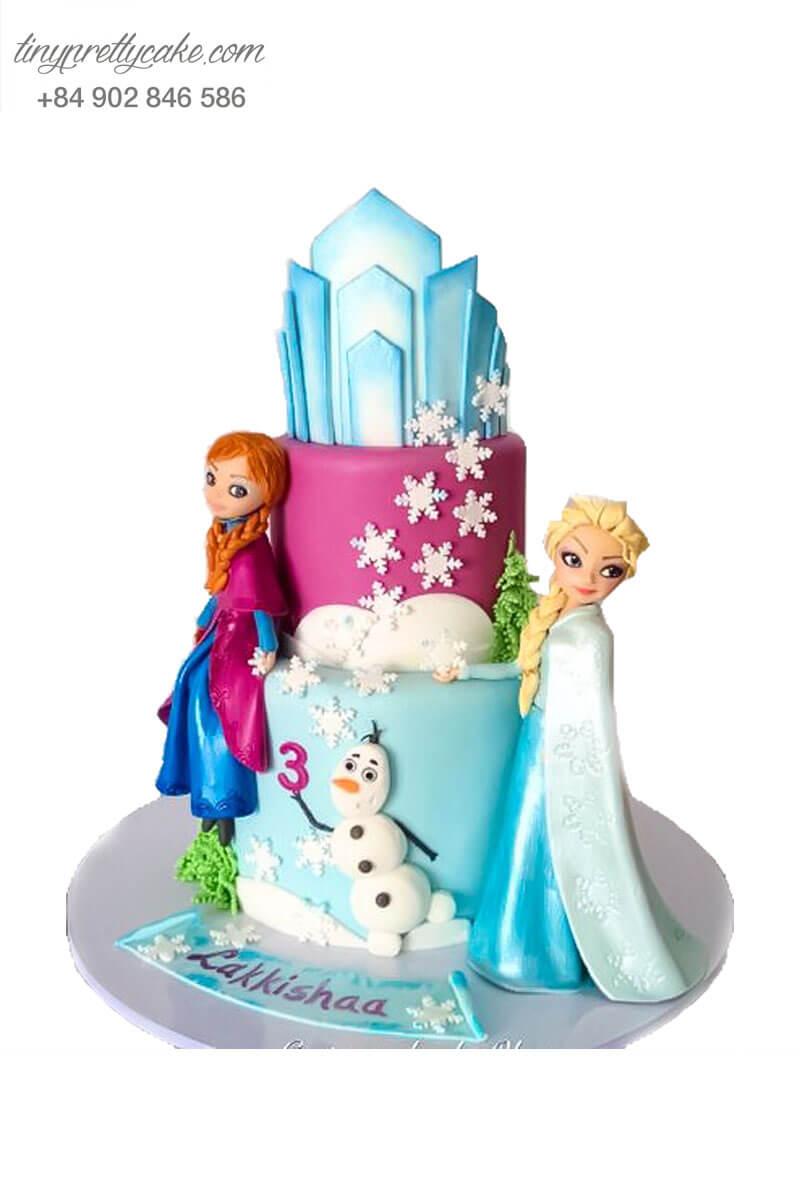 bánh fondant Elsa và Anna