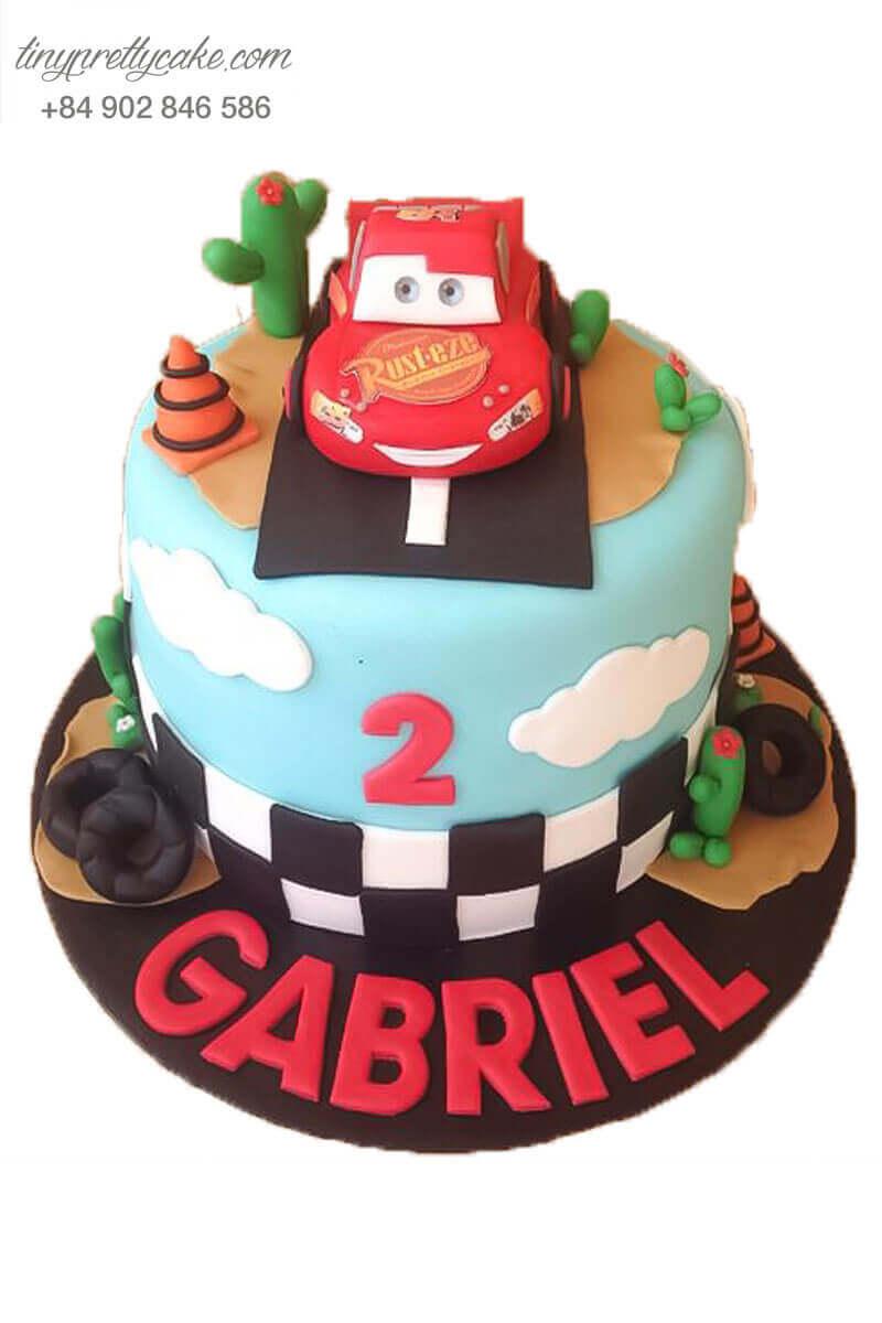Bánh sinh nhật ô tô mcqueen đỏ