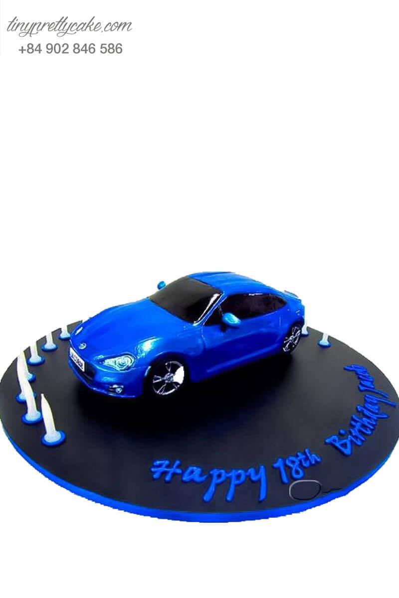 bánh kem tạo hình xe xanh