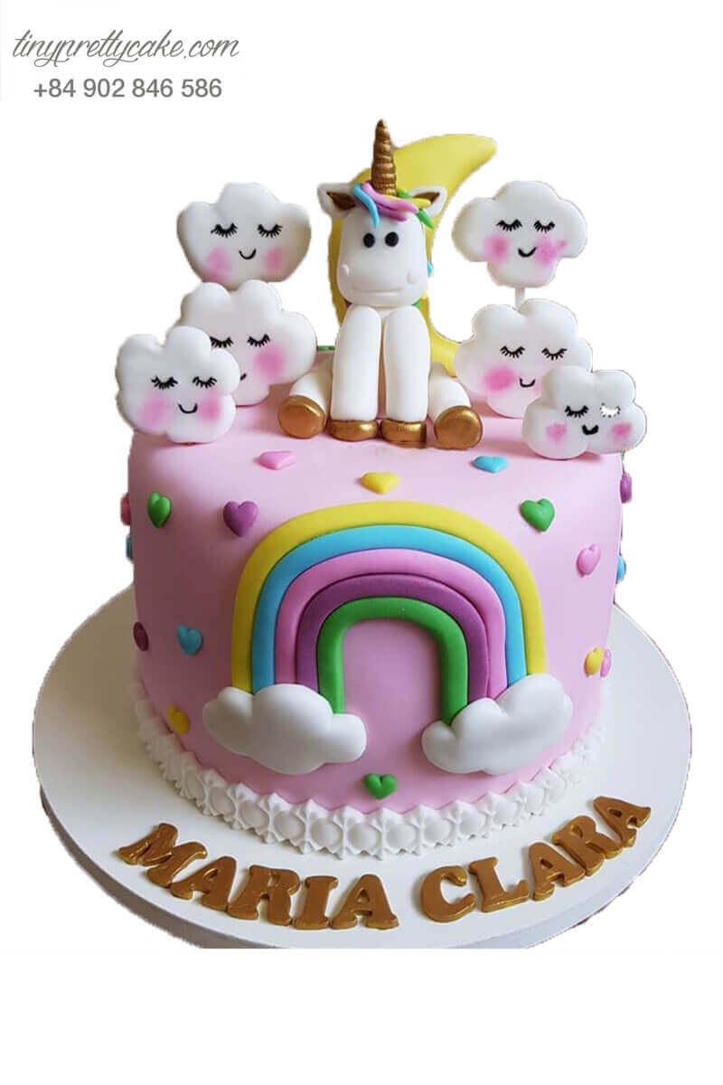 bánh sinh nhật Unicorn và mây