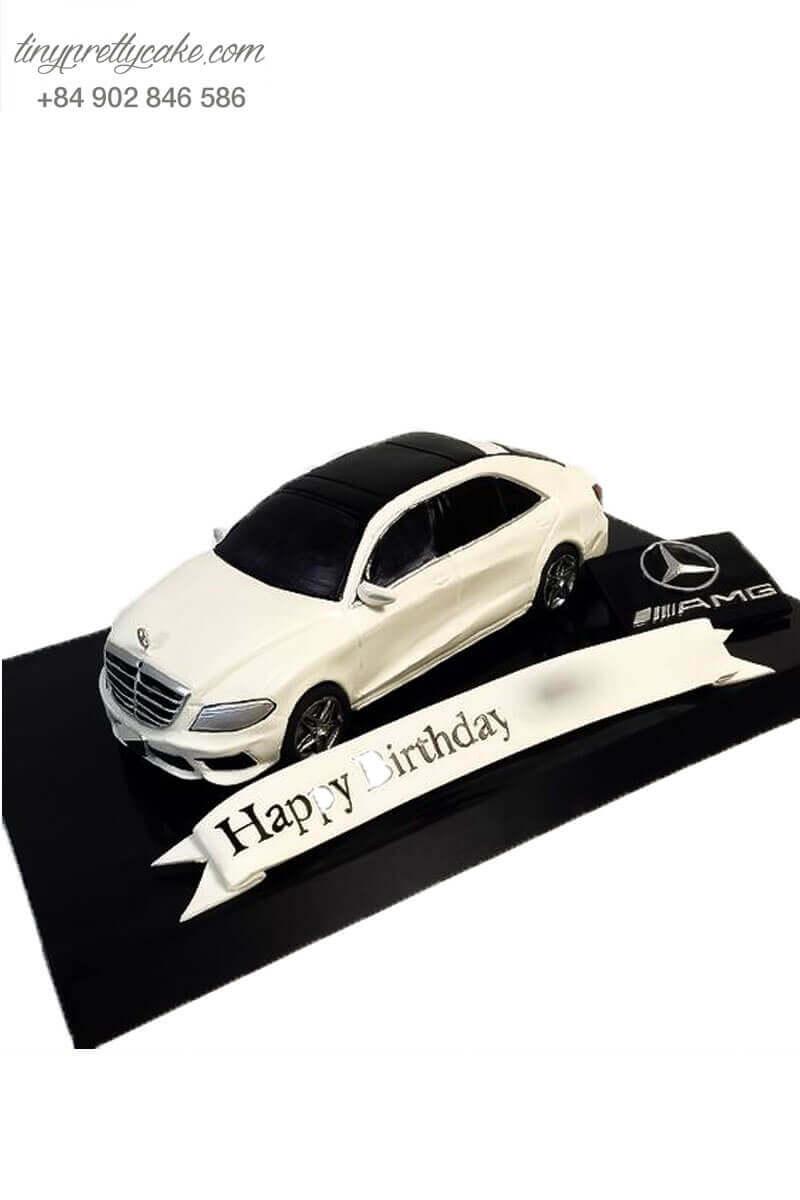 bánh kem sinh nhật xe hơi trắng đẹp