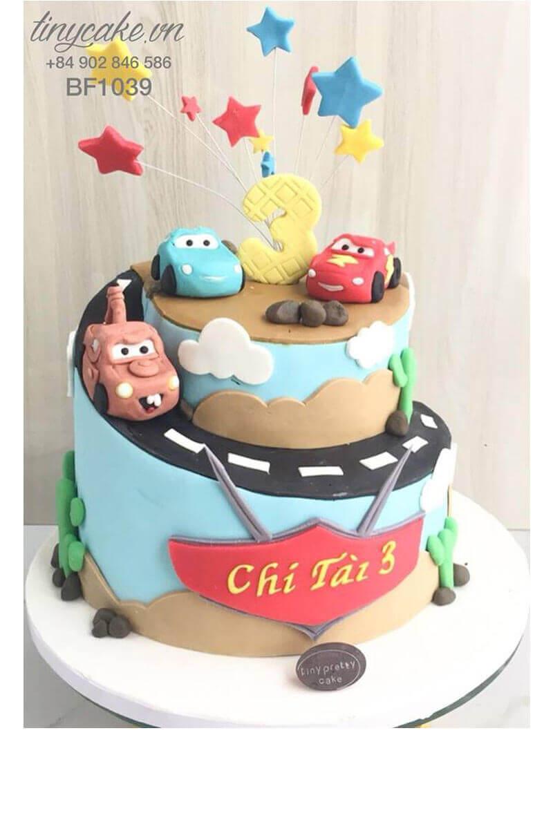 Bánh sinh nhật ô tô Mc Queen 2 tầng