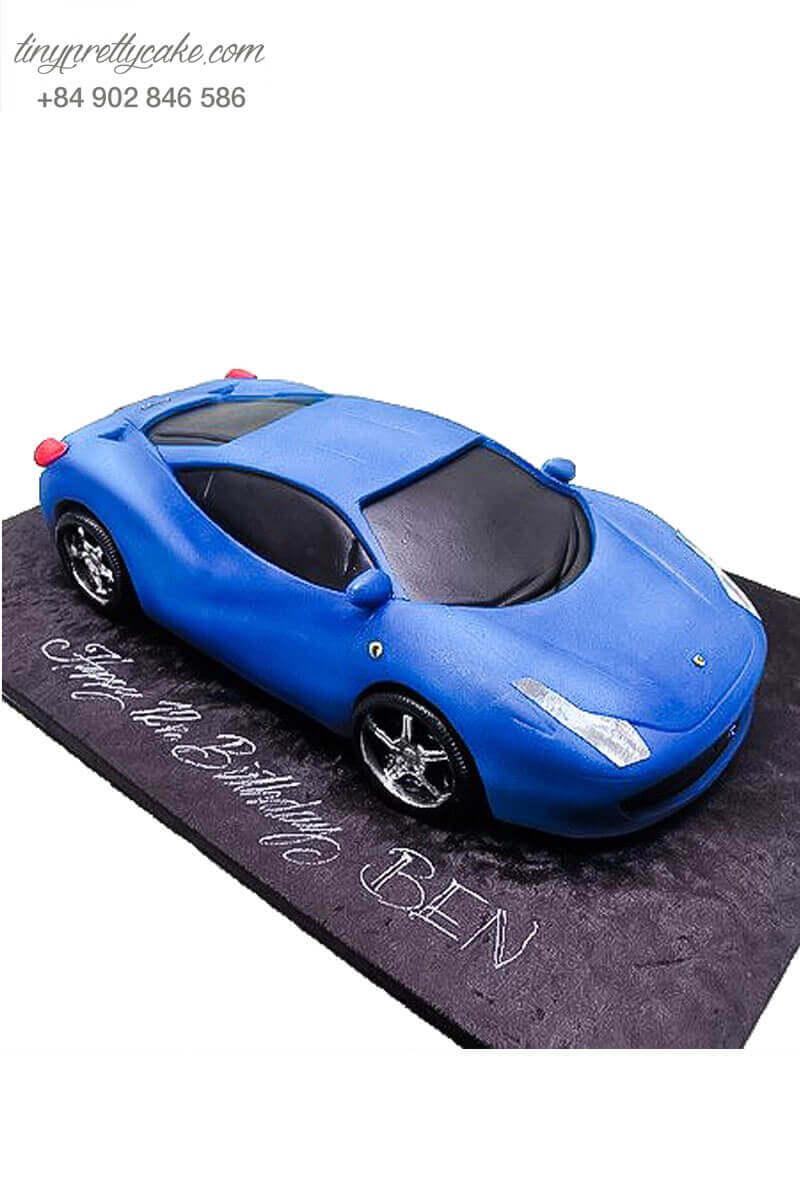 Bánh kem xe hơi xanh