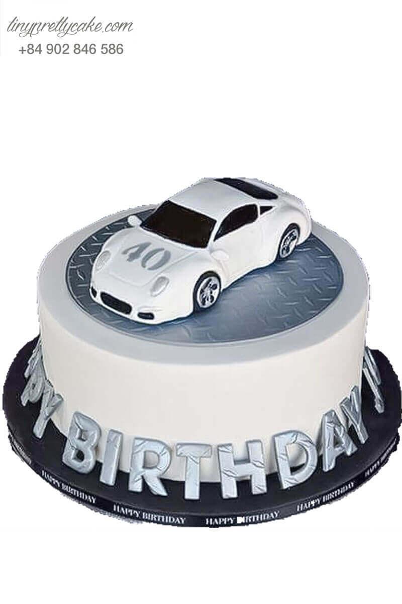 Bánh sinh nhật xe hơi trắng độc đáo