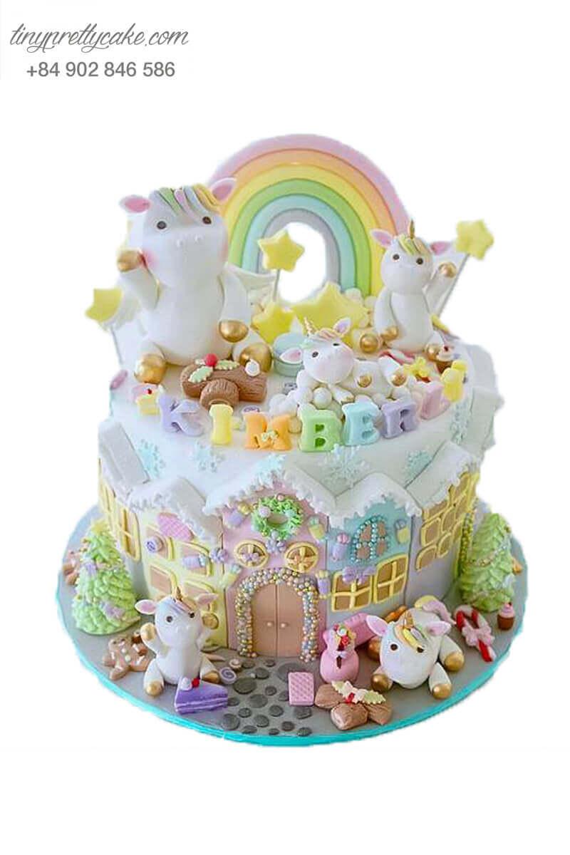 bánh sinh nhật gia đình Unicorn