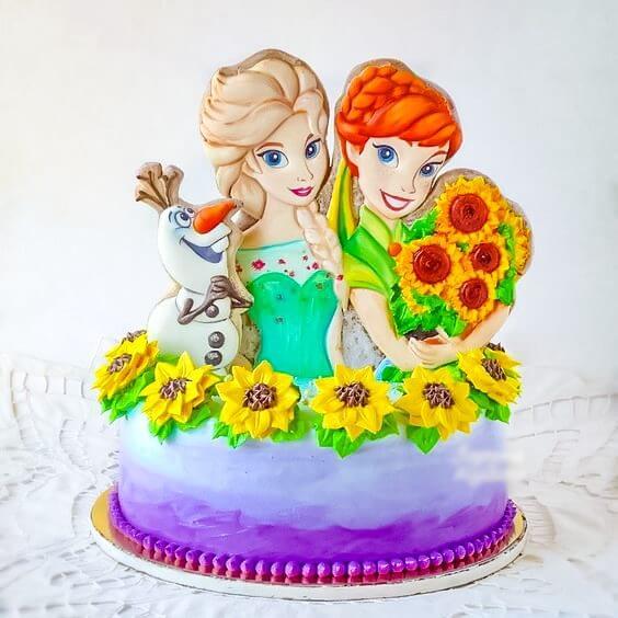 Bánh gato Elsa và hoa