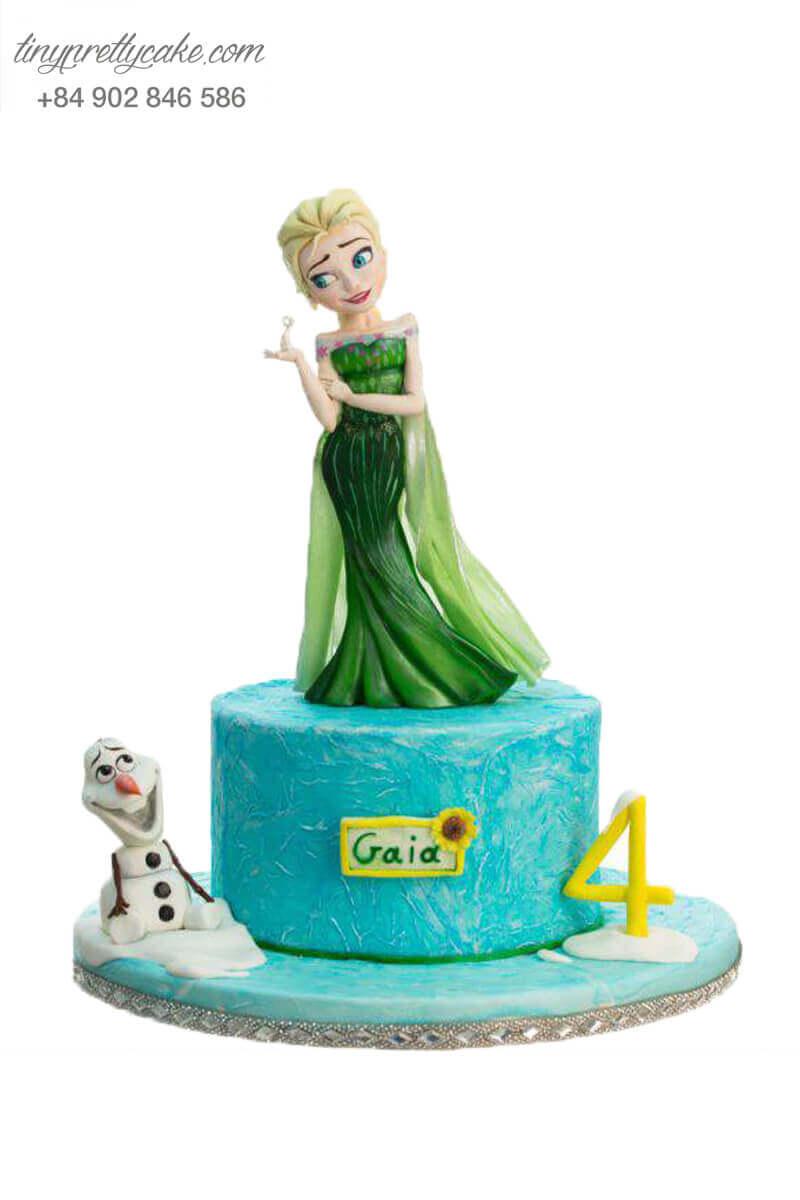 Bánh fondant Elsa màu xanh lá
