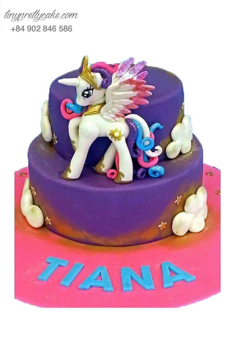 Bánh gato 2 tầng Unicorn màu tím