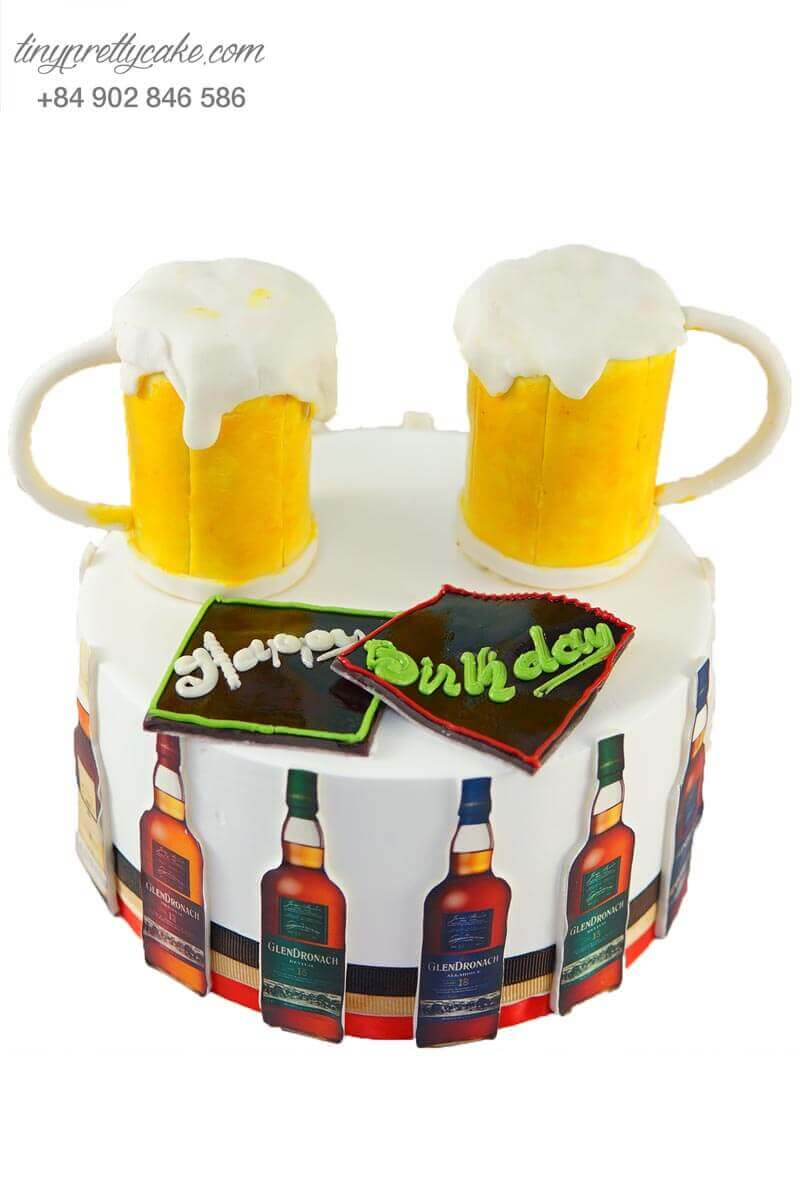 bánh sinh nhật hình ly bia cho ba