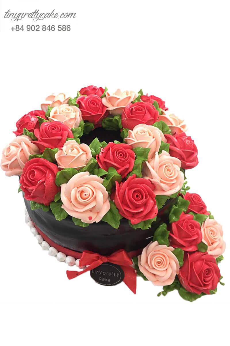 bánh kem trang trí hoa hồng