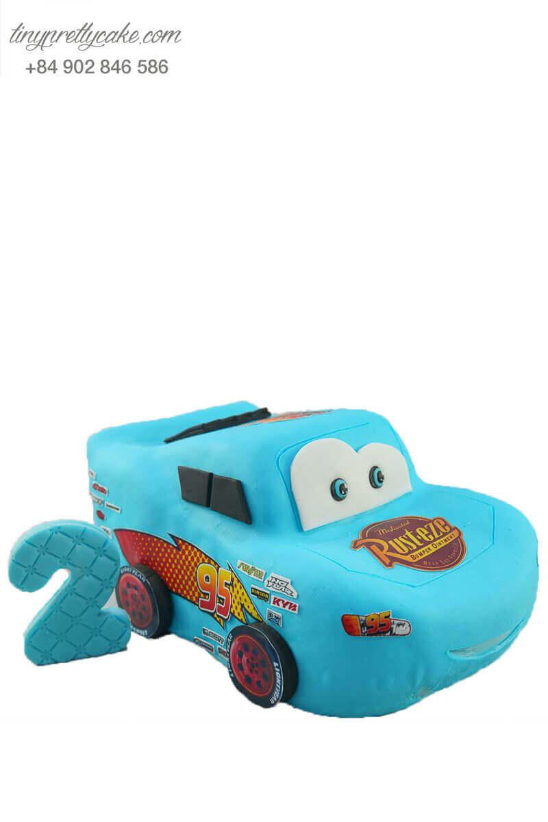 bánh kem xe hơi màu xanh