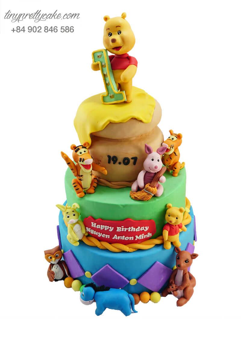 bánh sinh nhật 3 tầng gấu pooh