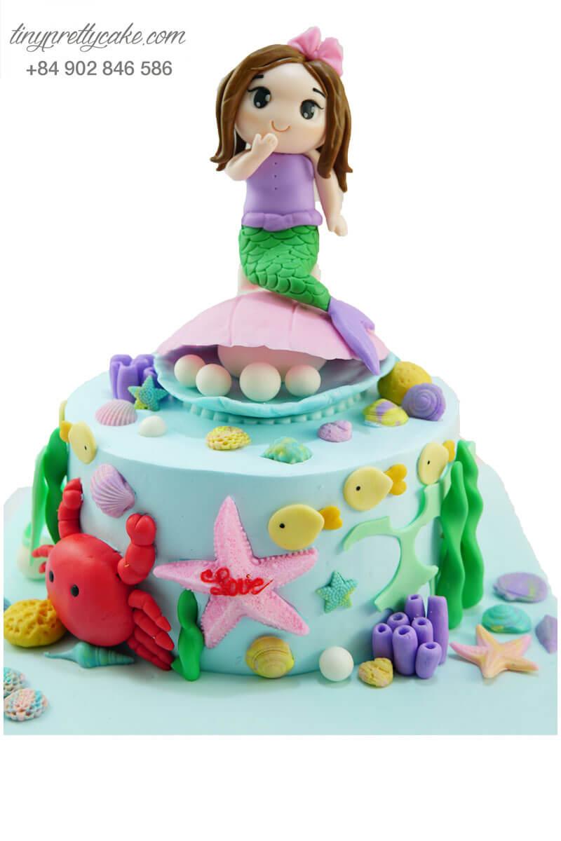bánh sinh nhật nàng tiên cá cho con gái