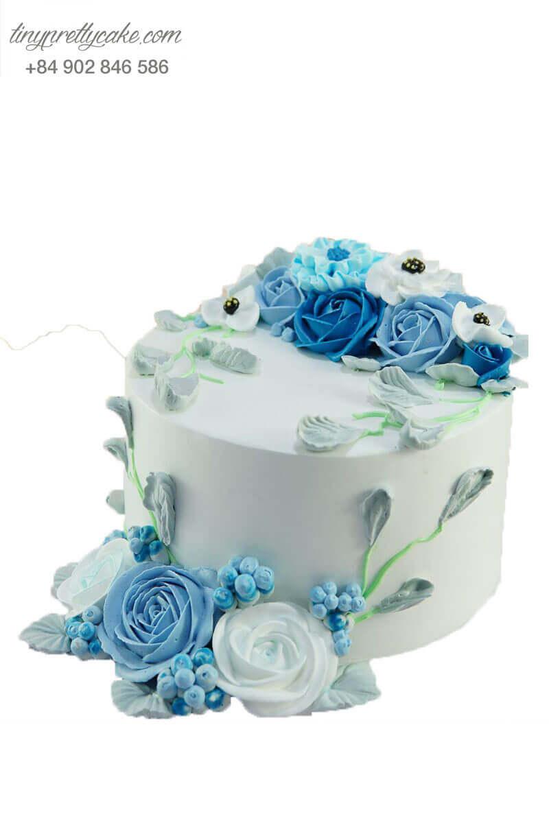bánh kem hoa hồng xanh