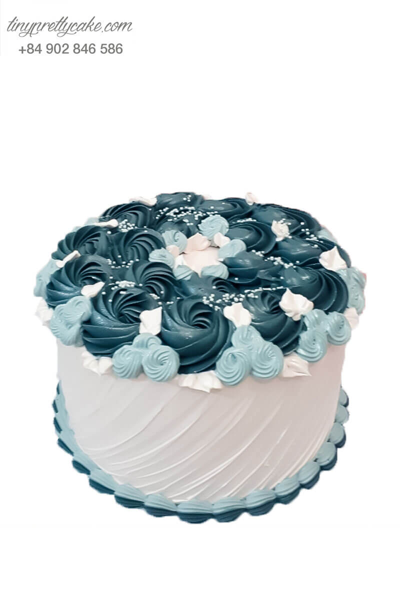 bánh kem xoắn hoa xanh
