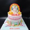 Bánh sinh nhật chủ đề unicorn cho bé gái fondant