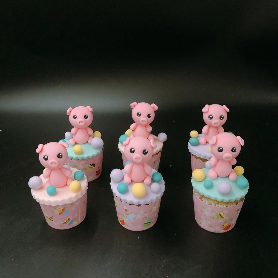 6 bánh cupcake heo như mẫu size nhỏ
