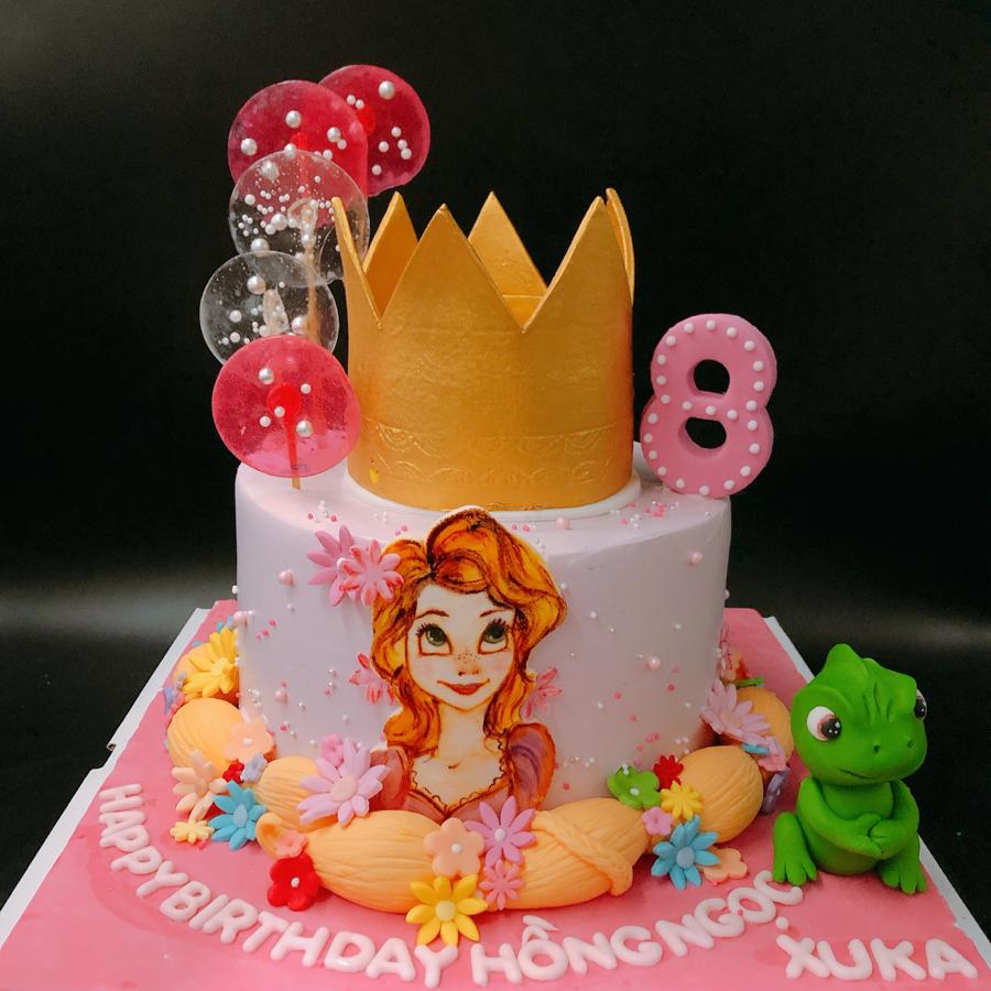 Bánh kem bơ trang trí công chúa rapunzel cho bé gái
