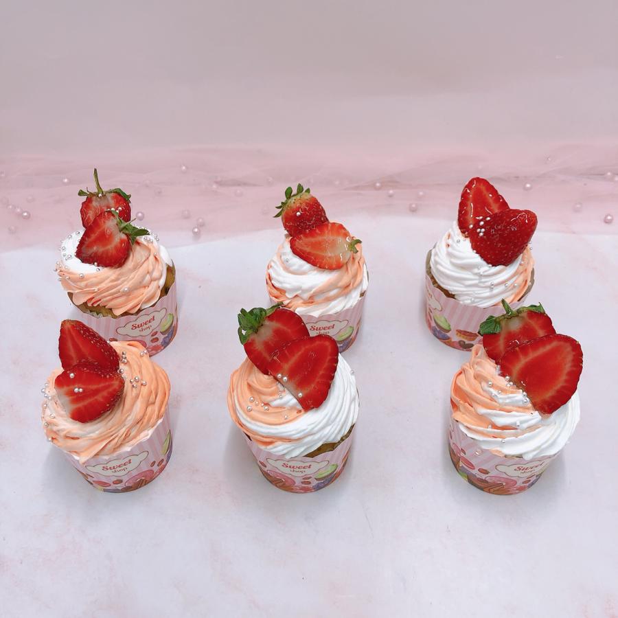 6 cupcake trang trí dâu tươi