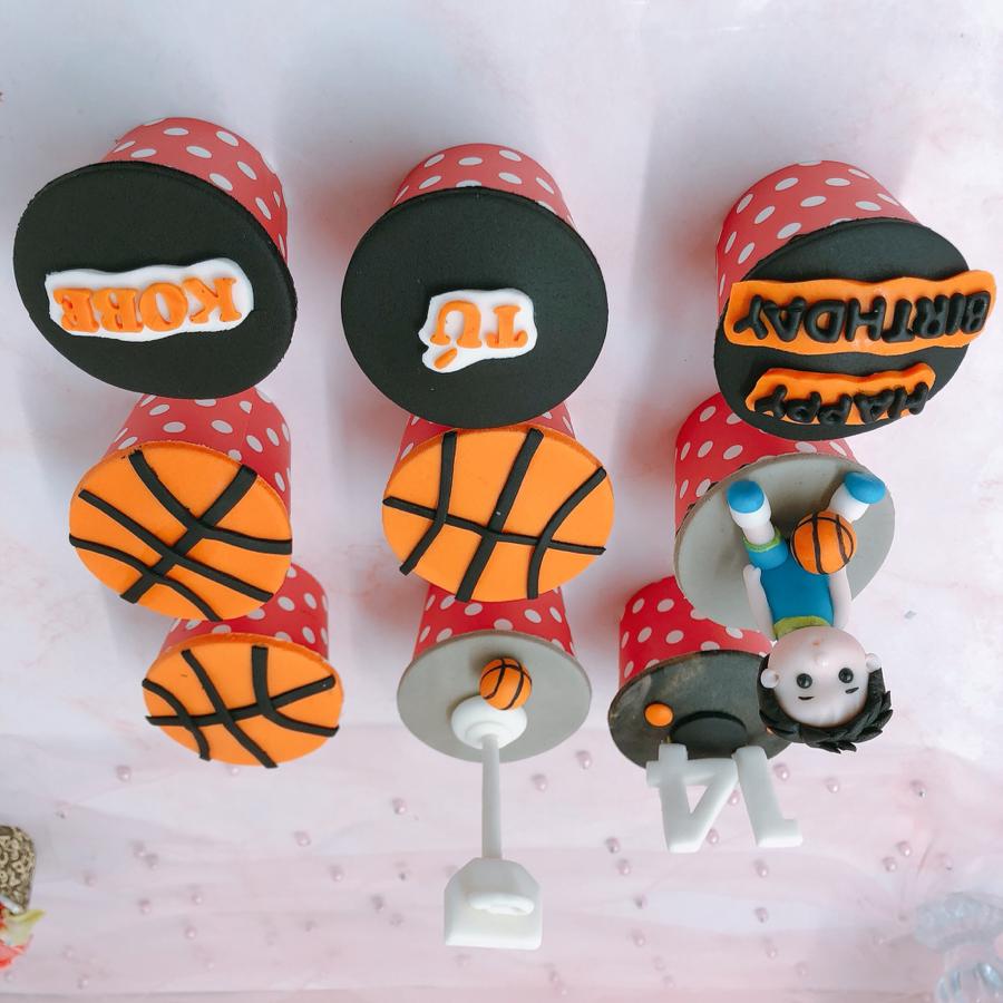 9 cupcake chủ đề bóng rổ size nhỏ