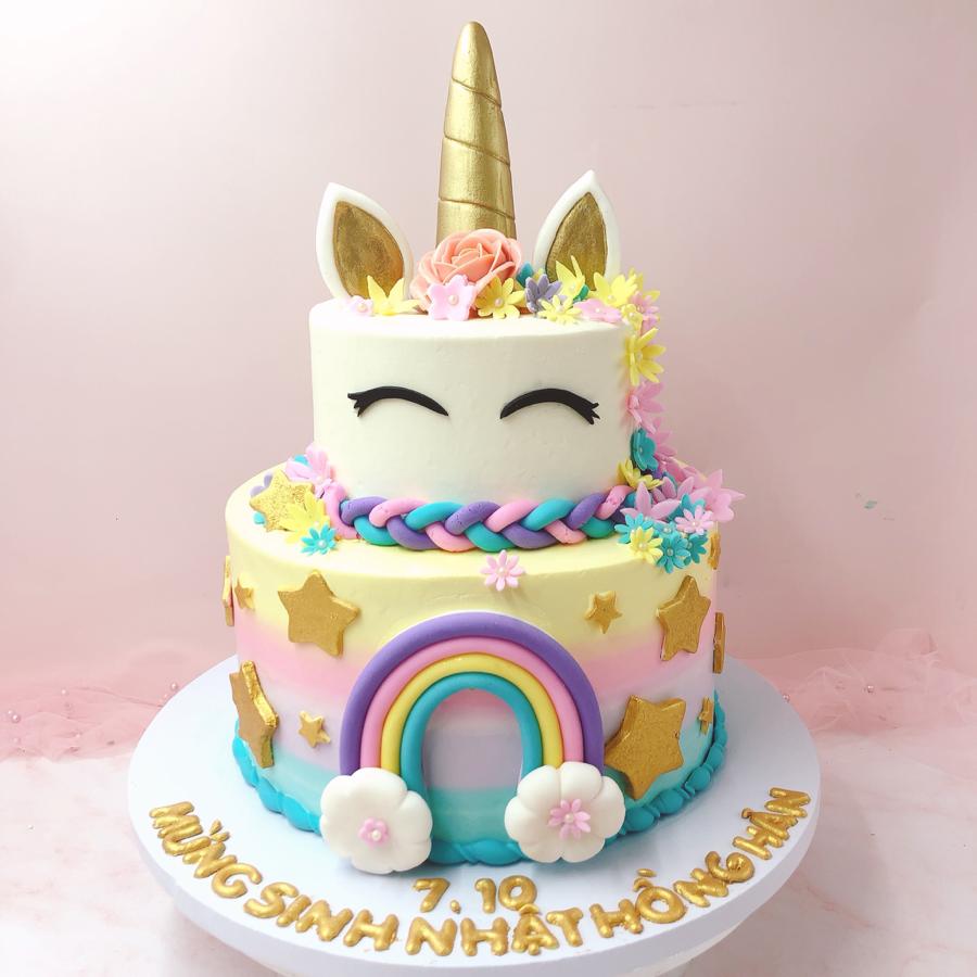 Bánh kem bơ 2 tầng unicorn đặc biệt