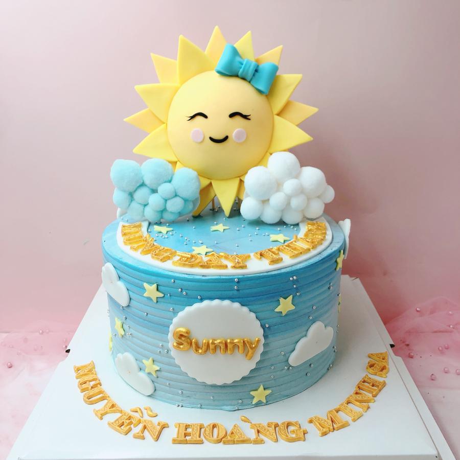 Bánh kem bơ chủ đề mặt trời cho bé