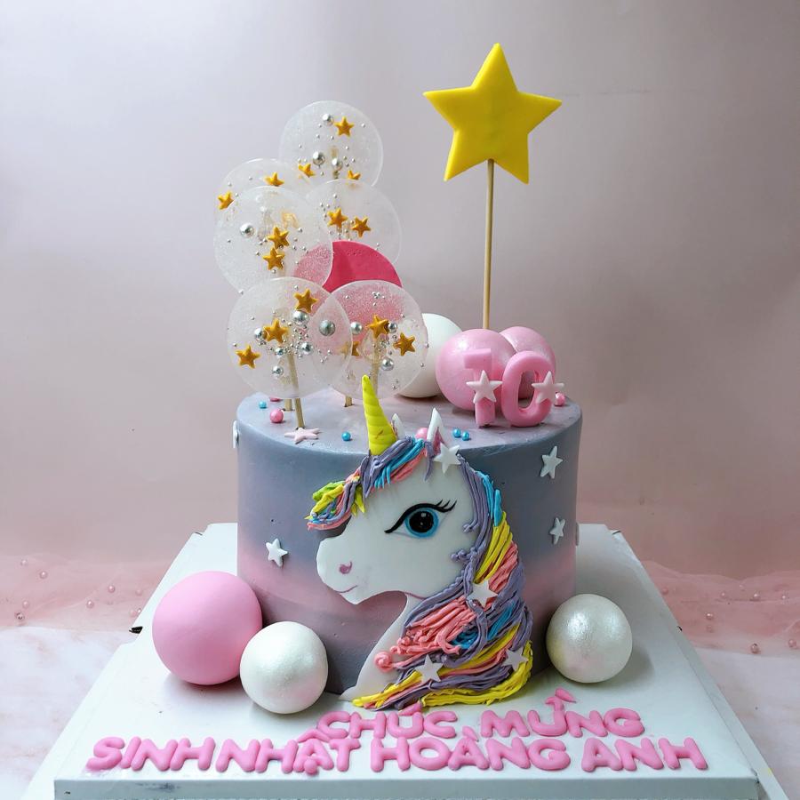 Bánh kem bơ unicorn