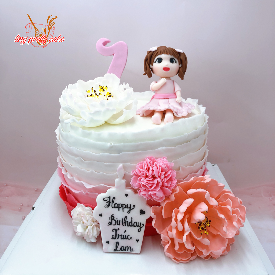 bánh sinh nhật bé gái ren đường