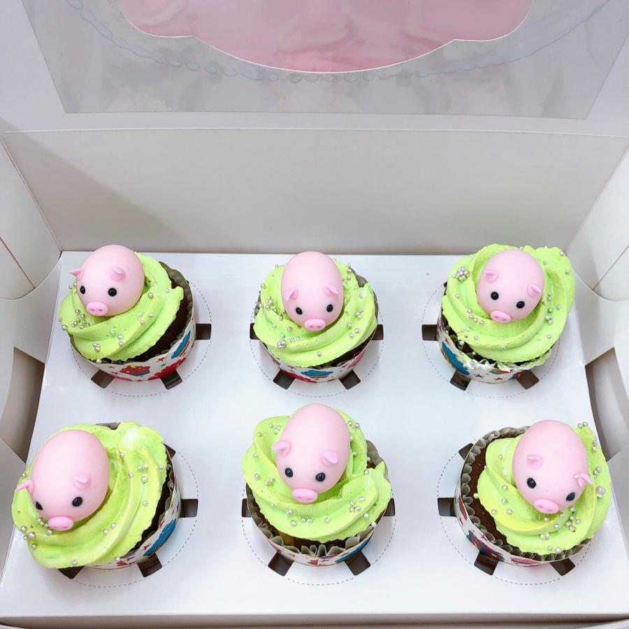 12 cupcake heo dễ thương