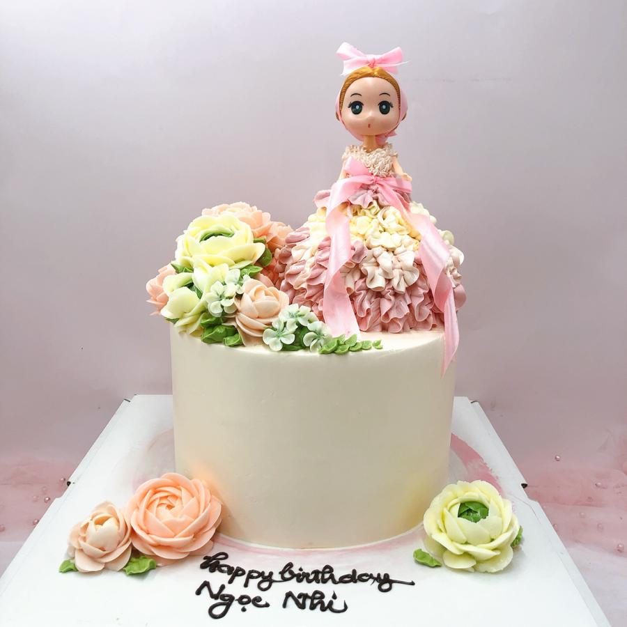 Bánh kem bơ chủ đề công chúa búp bê cho bé gái
