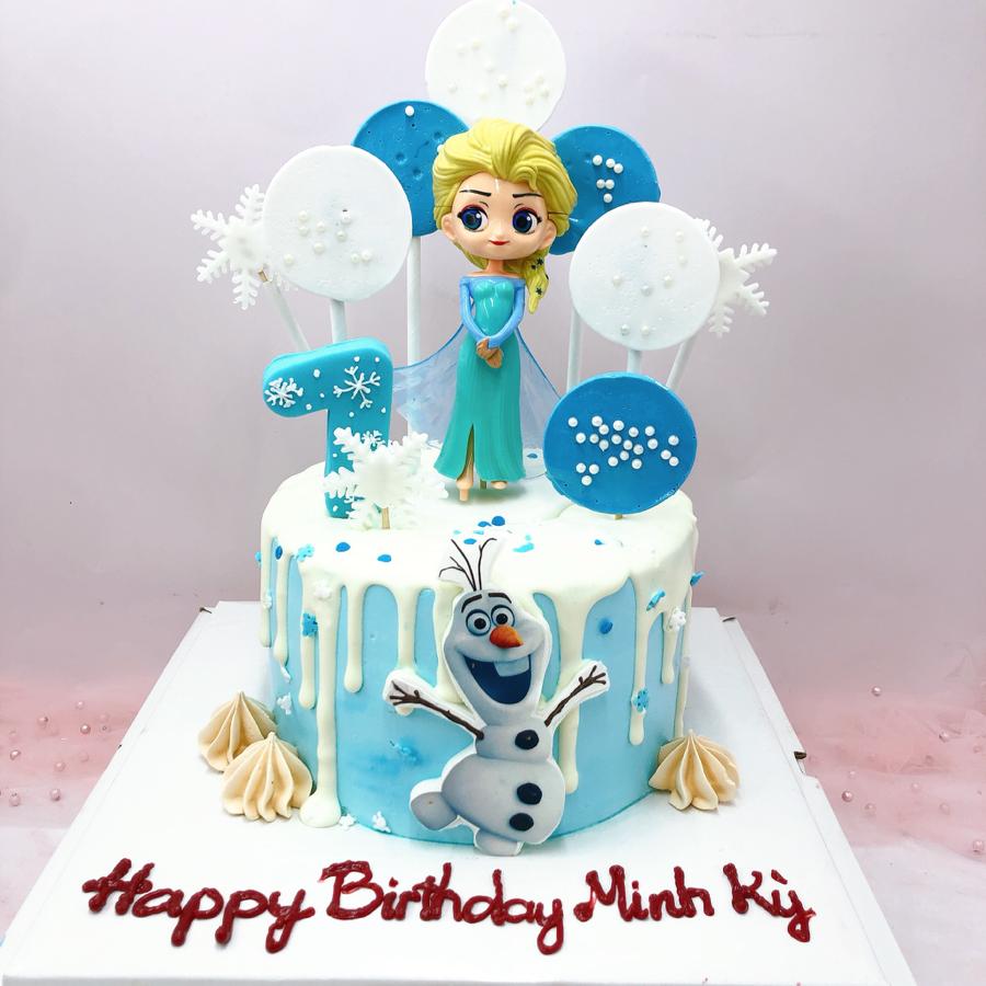 Bánh sinh nhật kem sữa chủ đề Elsa co bé gái