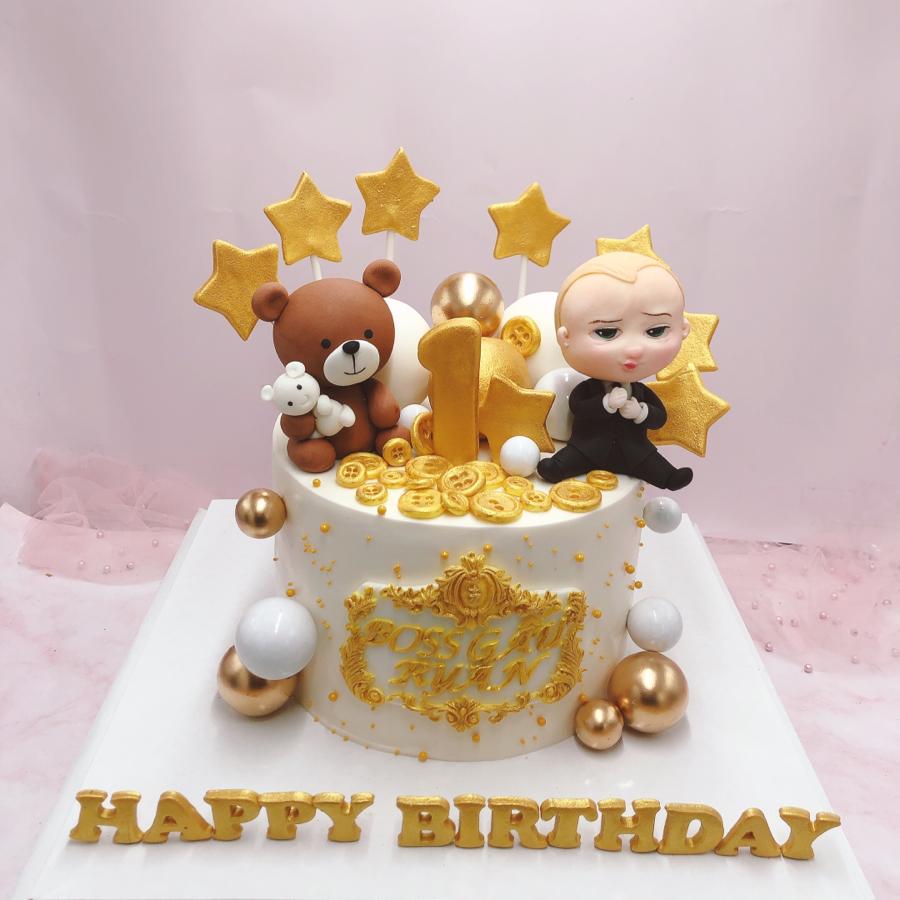 Bánh fondant gấu và bé trai dễ thương cho tiệc sinh nhật