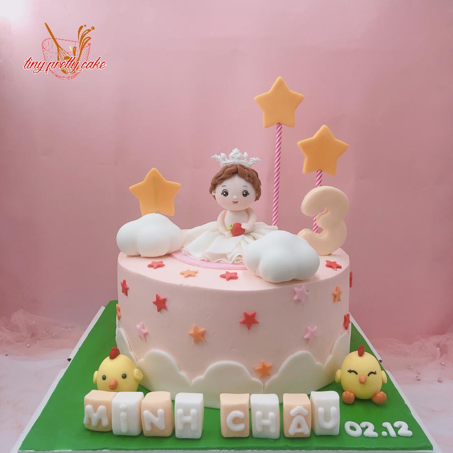 Bánh kem bơ chủ đề bé gái và gà con cho tiệc sinh nhật